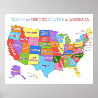 Carte multicolore des Etats-Unis Posters
