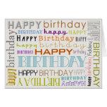 Carte multicolore unisexe d'anniversaire des texte