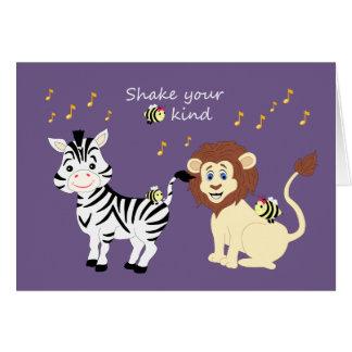 Carte musicale d'animaux de zèbre et de lion de