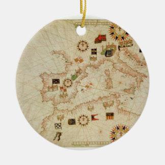 Carte nautique miniature du Mediterranea central Ornement Rond En Céramique