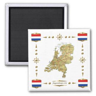 Carte néerlandaise + Aimant de drapeaux