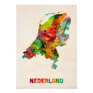Carte néerlandaise d aquarelle invitation