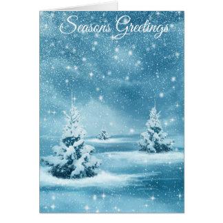 """Carte neigeuse de Chrstmas d'arbres de """"Joyeuses"""