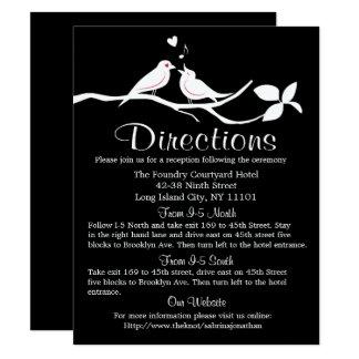 Carte Noce noire et blanche de perruches de directions