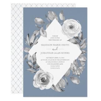 Carte Noces de diamant florales poussiéreuses de gris