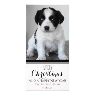 Carte Noël blanc noir de vacances d'animal familier ou