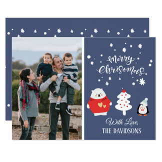 Carte Noël bleu mignon de photo de famille