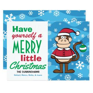 Carte Noël drôle de singe de Père Noël