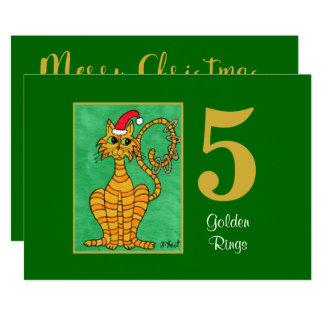 Carte Noël mignon de coutume de chat de cinq anneaux