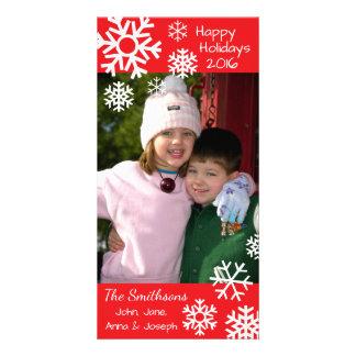 Carte Noël multiple daté de flocons de neige (rouge)