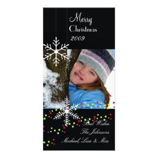 Carte Noël noir et blanc de ~ de flocons de neige