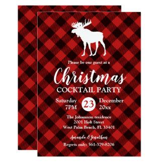 Carte Noël rouge et noir d'orignaux et de Buffalo de
