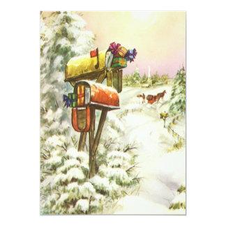 Carte Noël vintage, boîtes aux lettres dans l'invitation