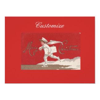 Carte Noël vintage de patinage de Thunder_Cove de garçon