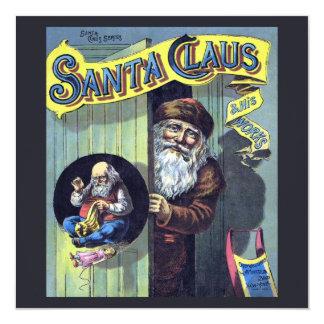 Carte Noël vintage, le père noël et son livre de travaux