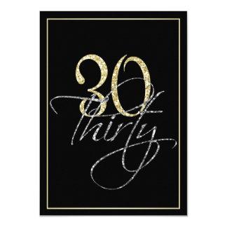 Carte Noir argenté formel et 30ème fête d'anniversaire