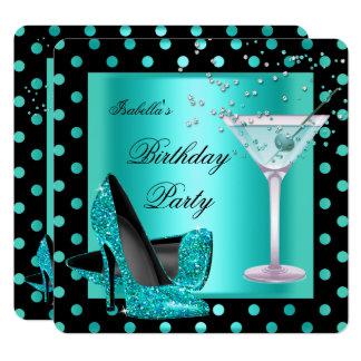 Carte Noir bleu turquoise 2 de turquoise de fête