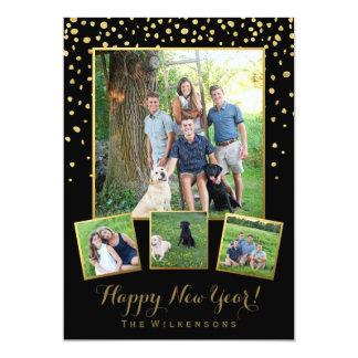Carte Noir de bonne année et collage de photo de