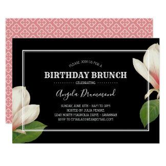 Carte Noir de brunch d'anniversaire de magnolia du sud