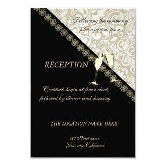 Carte Noir élégant, réception de mariage damassé