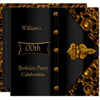 Carte Noir élégant Steampunk d'or de fête d'anniversaire