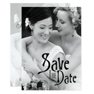 Carte Noir et blanc - sauvez la date et la photo
