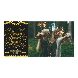 Carte Noir moderne de fête de bonne année et photo d'or