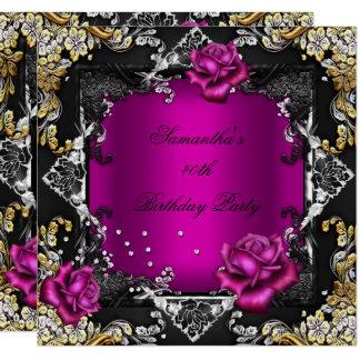 Carte Noir riche d'argent d'or de rose de rose de fête