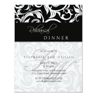 Carte noire de dîner de répétition de monogramme faire-parts