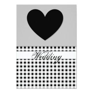 Carte noire de faire-part de mariage de coeur de