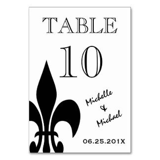 Carte noire de nombre de White Fleur de Lis Table
