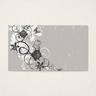 Carte noire de profil de fleurs