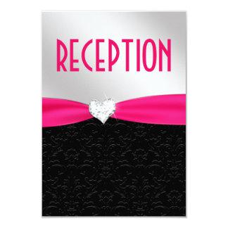 Carte noire de réception de diamant de damassé de carton d'invitation 8,89 cm x 12,70 cm