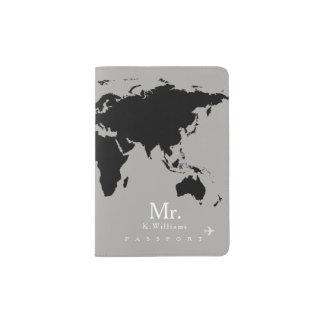 carte noire du monde sur le gris avec M. nom Protège-passeport
