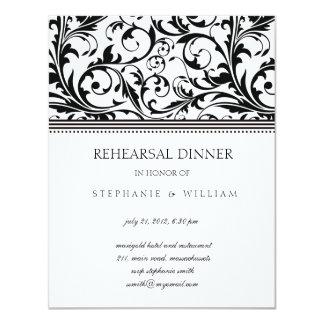 Carte noire et blanche de dîner de répétition de bristols