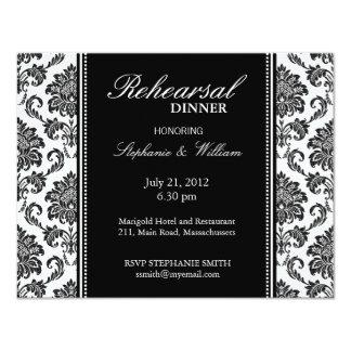Carte noire et blanche de dîner de répétition de cartons d'invitation