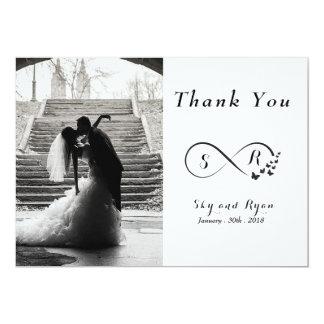 Carte noire et blanche de photo de mariage de carton d'invitation  12,7 cm x 17,78 cm