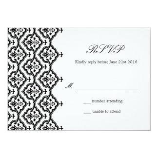 Carte noire et blanche de réponse de mariage carton d'invitation