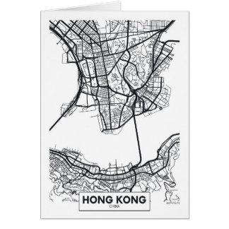 Carte noire et blanche de ville de Hong Kong,
