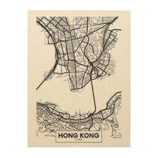 Carte noire et blanche de ville de Hong Kong, Impression Sur Bois