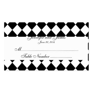 Carte noire et blanche d'endroit de mariage de har modèle de carte de visite