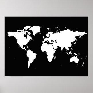 carte noire et blanche du monde affiches
