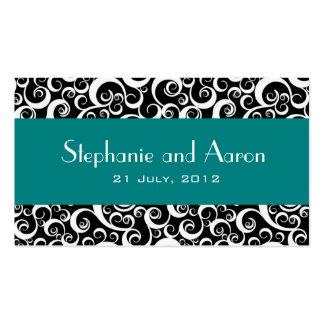 Carte noire et blanche élégante de mariage damassé cartes de visite personnelles