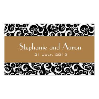 Carte noire et blanche élégante de mariage damassé carte de visite standard