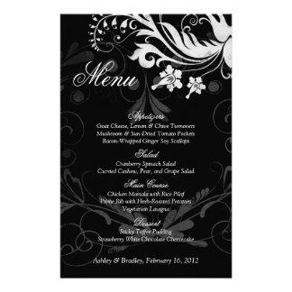 Carte noire et blanche florale vintage de menu de  tract