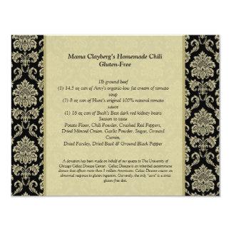 Carte noire et ene ivoire de recette de Tableau de Carton D'invitation 10,79 Cm X 13,97 Cm