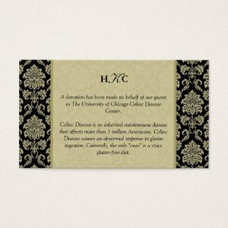 Carte noire et ene ivoire de Tableau de réception