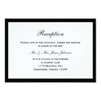 Carte noire simple de réception de mariage de carton d'invitation 8,89 cm x 12,70 cm