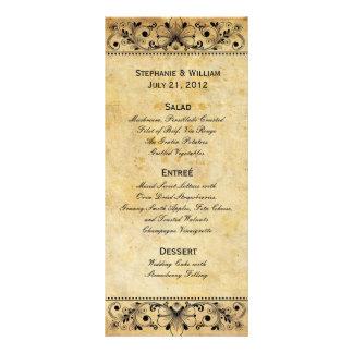 Carte noire vintage de support de menu de mariage carte double en  couleur