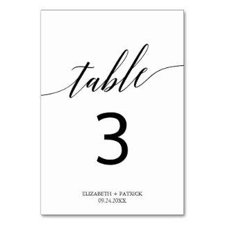 Carte Nombre blanc et noir élégant de Tableau de